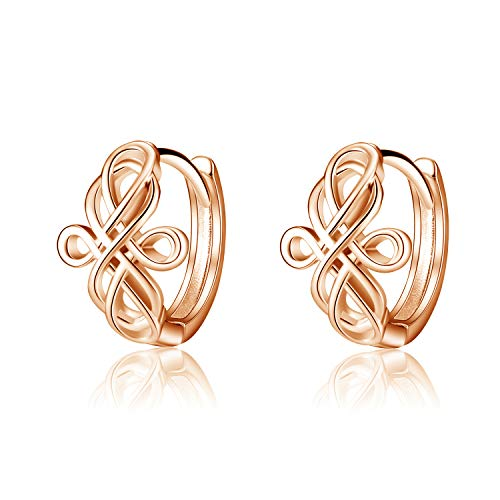 WINNICACA Small Hoop Celtic Cross Knot Earrings for Women Men Teens Sterling Silver Infinity Luck Irish Huggie Hoops Earring Jewelry Mother's Day Gifts Birthday-Rose Gold