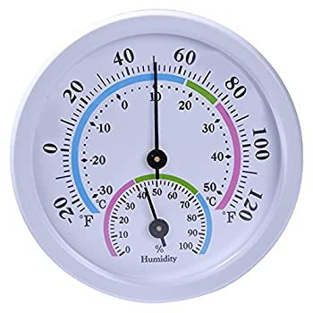 Mini Indoor Thermometer Hygrometer - 3 Desk Thermometer Wireless Thermometer for Table Kitchen Car Greenhouse or Decorative No Battery Required Round Hygrometer White