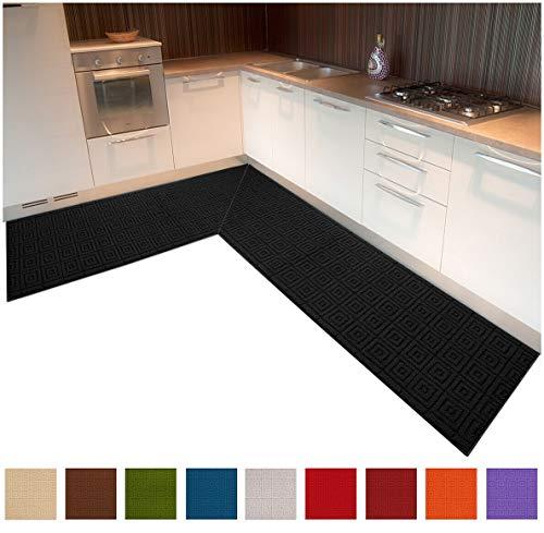 Küchen-Eckteppich, Maße personalisierbar, mit Einfassung in 3D-Textur und Anti-Rutsch-Beschichtung an der Unterseite, Modell Evita grau