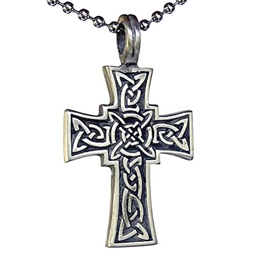 Irish Celtic Cross Jewelry Norse Viking Celt Druid Medieval Renaissance Pagan Paganism Pewter Unisex Men's Pendant Necklace Charm Protection Amulet for men women unisex w Silver Ball Chain