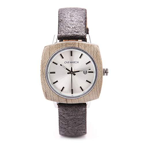 Ovi Watch - Holzuhr für Damen mit Gehäuse aus Holz, Datum, 40mm, Schwarz Ananas Lederarmband, Analog