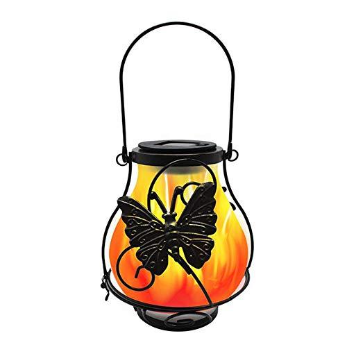 Luces solares de Metal para colgar al aire Libre, linterna Solar de Llama parpadeante, Luces solares decorativas de jardín a prueba de agua para Patio, Patio trasero, Patio (Mariposa)