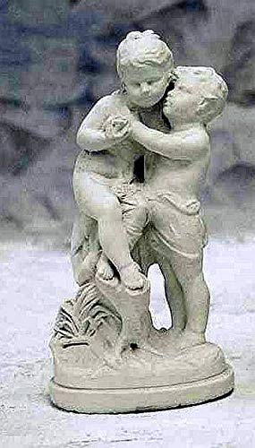 pompidu-living Verliebtes Moreau-Paar Steinfigur Gartenfigur H 58 B 30 T 20 Farbe hellgrau