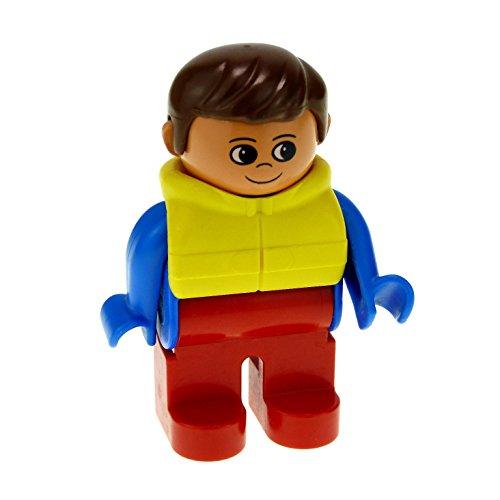 1 x Lego Duplo Figur Mann Hose rot Oberteil blau mit Weste Rettungsweste Schwimmweste gelb Haare braun für Fischer Boot 4555pb055