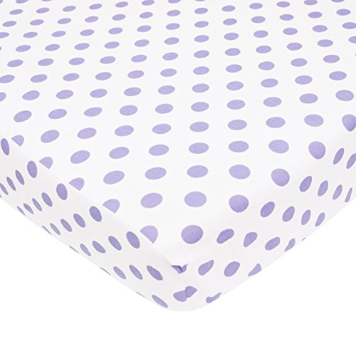 TL Care 100% Natural Cotton Percale Fitted Crib Sheet for Standard Crib and Toddler Mattresses, White with Lavender Dot, 28 x 52, Soft Breathable, for Girls