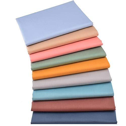 Ibalulu 9 piezas 50 x 40 cm tela de algodón por metros para coser, patchwork, tela para patchwork, tela DIY, mezcla monocolor