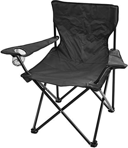 normani Campingstuhl Faltstuhl Klappstuhl Anglerstuhl Strandstuhl Gartenstuhl Hocker 110 kg inkl. Tasche und Getränkhalter Farbe Schwarz