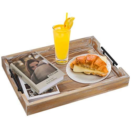 Bandeja de madera para servir, rectangular, con asas, para desayuno, para la cama, para la cocina, para el camarero, para el café, 51 x 35 x 6,5 cm, color marrón
