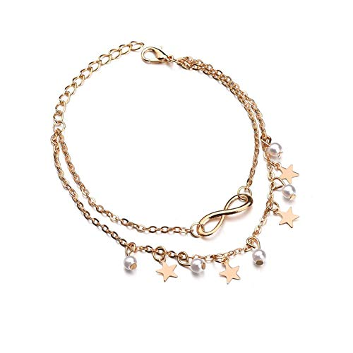 zhppac Ankle Bracelets for Women Foot Chain Accessories Large Length Anklet Set Anklets Stars Anklet Charm Anklet Naturally anklets Symbol Anklet