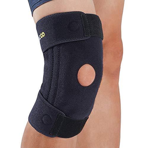 BRACOO KB30 SportsMed Kniebandage mit herausnehmbaren Seitenstabilisatoren - lange Knieschiene mit innovativer Silikon-Gel-Vibrationsdämpfung – Knieorthese für Damen und Herren