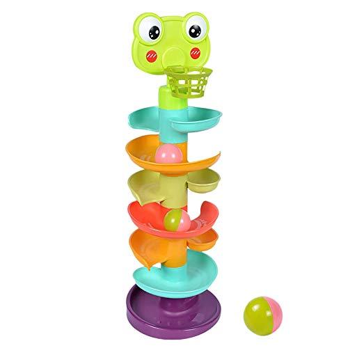PHLPS Ball Drop Toys 2021 New Children Block Block Swirl Ball Ramp, Torre de Gota de Bola, Tower Spin Track Transport Roll Ball Development Education Juguete para Baby Snowdler (tamaño : 51cm) ✅