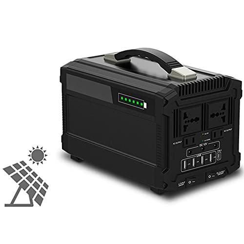 444Wh Generador Solar Portátil, Estación Almacenamiento Recargable, 500W y Salidas AC/DC/USB, Generador Electrico Solar Power Station con Batería de Litio para Camping y Autocaravan