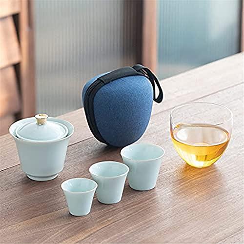 Hermoso juego de té Kungfu de cerámica, juego de té de viaje portátil chino, para picnic al aire libre, hotel de negocios, color azul claro