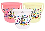 Package Contents: 3 Pieces Unbreakable Strong Plastic Bathroom Bucket Material: Plastic, Color:Pink & Cream & White, Design: Disney Team Mickey Print Product Dimensions: 32cm x 32cm x 30cm Heart Home plastic Bucket is made of quality plastic material...