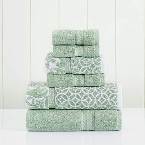 Amrapur Overseas   Trefoil Filigree 6 Piece Reversible Yarn Dyed Jacquard Towel Set (Sage)