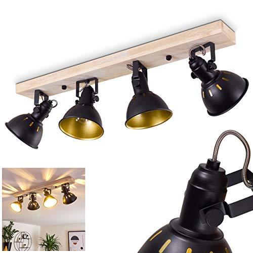 Lámpara de techo Tina, 4 focos de metal negro y oro y madera, lámpara de techo retro, 4 x E14 máx. 40 W, los cabezales de la lámpara son giratorios y orientables, adecuada para bombillas LED