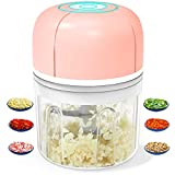 Electric Garlic Chopper, Portable Mini Food Processor, Wireless Vegetable Masher with USB Charging, Waterproof Garlic Masher Mincer for Onion Meat Spices Baby Food Grinder (250ml/8.5oz Pink)