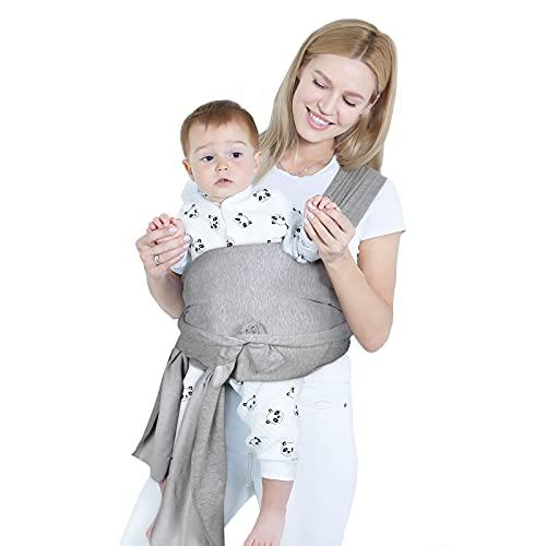 Lictin Elastisches Babytragetuch mit ASTM Zertifikat - Sleepy Wrap -hellgrau Tragetuch Baby - Babytrage Neugeborene und Kleinkinder bis 18,4 kg