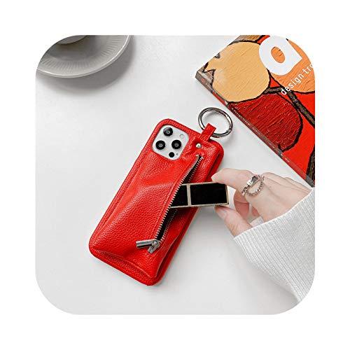 12 fundas de piel para iPhone 11 Pro Max 7 8 Plus XR XS X lujo PU cartera titular de tarjeta de teléfono funda para iPhone SE 2020 12 Mini rojo - para 12 Pro