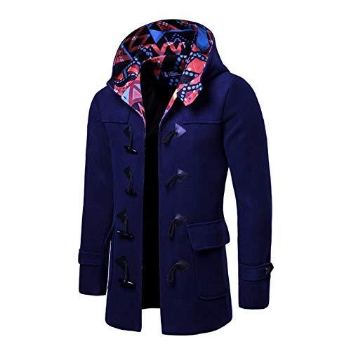Chaqueta a cuadros para hombre de invierno larga cálida y delgada lana mezclada gabardina de Navidad, azul, 2XL