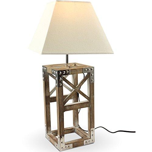 mojoliving Tischlampe aus Holz und Chrombeschläge mit Stoffschirm für Wohnzimmer Schlafzimmer Büro Retro Vintage Design Deko Tischleuchte Höhe ca. 52 cm