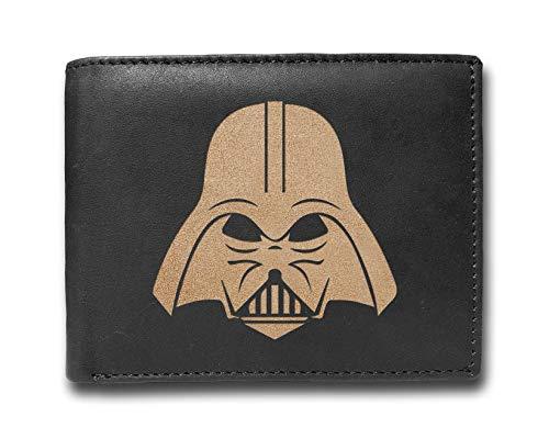 Darth Vader börse aus Rindsleder, mit Lasergravur, schlankes Design, für Herren, großes Fassungsvermögen, minimalistisch, schlank, schlank, schwarz, Kreditkartenfächer, Organizer mit 14 Fächern