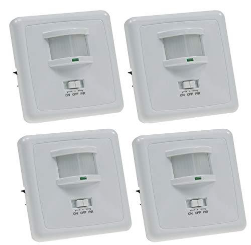Unterputz Bewegungsmelder 160° 9m Reichweite LED geeignet 3-Draht Infrarot UP Einbau 4 Stück Weiß
