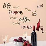 decalmile Adesivi Murali Cucina Bottiglia di Vino Adesivi da Parete Frasi Scritte caffè Decorazione Murale Soggiorno Sala da Pranzo Ristorante
