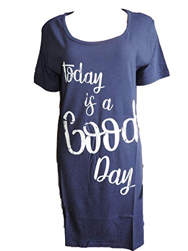 Damen Nachthemd Big Shirt schwarz, blau, grau (Blau, M)