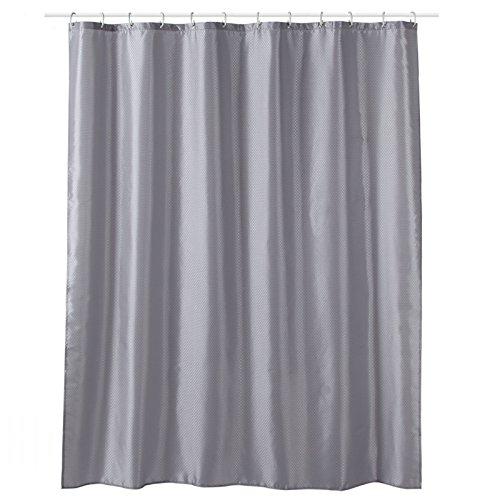 Design Duschvorhang mit Kunststoff Ringen - 100prozent Polyester Stoff Textil mit Motiven & Mustern, geeignet für Badewanne und Dusche (180 x 200 cm, Punkte, grau)