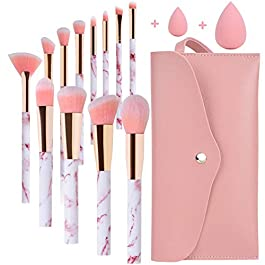 Makeup Brushes Sets Start Makers Professional 12Pcs Pink Marble Makeup Brush Set with Foundation Concealer Blush Eyeshadow Make Up Brushes Beauty Blender and Make Up Bag
