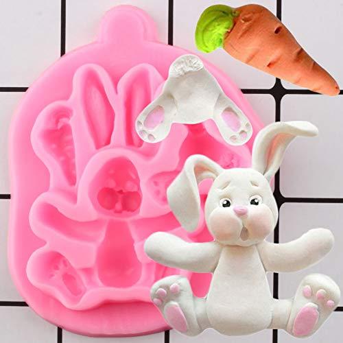 N /A Ostern Kaninchen Silikonformen Karottenhasen Cupcake Fondant Kuchen Dekorationswerkzeuge Candy ClayGumpaste Formen