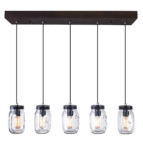 EDISLIVE 5-Light Kitchen Island Lights Mason Jar Colgante Glass Light Shade Ceiling Colgante Jar Jardelier