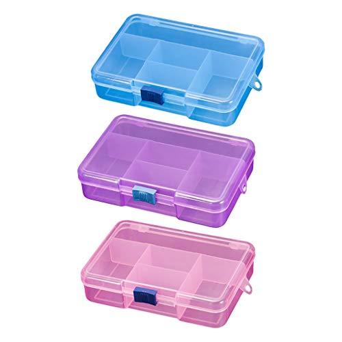 Milageto Paquete de 3 Alfileres de Joyería, Caja de Almacenamiento, Compartimento Transparente, Organizador, Organizador