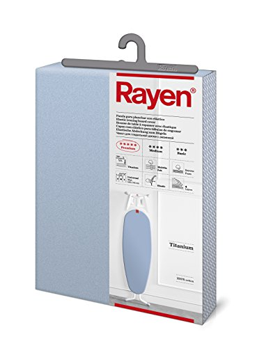 Rayen | Funda para tabla de planchar Universal | Elástica, acolchada y fácil de colocar | 4 capas: Espuma, Muletón, tejido 100% de Algodón y Titanio | Gama Premium