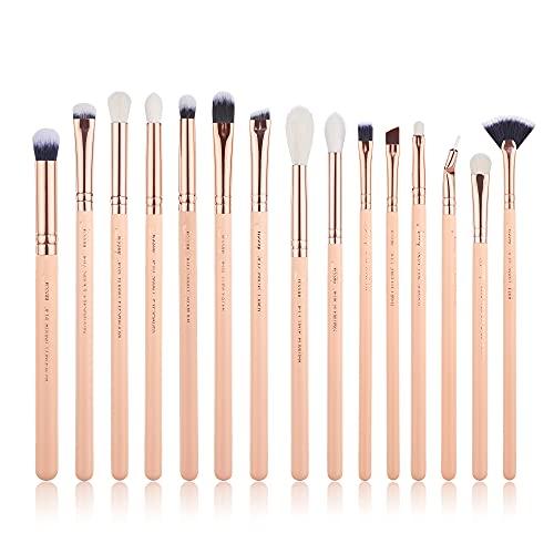 Jessup T447 - Juego de 15 brochas de maquillaje para sombra de ojos, delineador de cejas, sombra de ojos, maquillaje, cosméticos, herramientas, delineador de ojos, color rosa y oro rosa