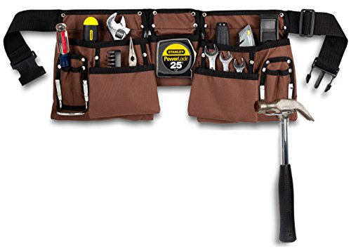 "11 Pocket Brown and Black Heavy Duty Construction Tool Belt, Work Apron, Tool Pouch, with Poly Web Belt Quick Release Buckle - Adjusts from 33"" Inches All the Way to 52"" Inches"