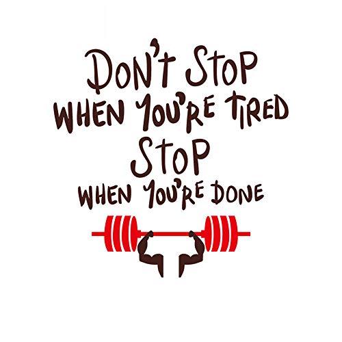 Geef nooit Gymnasium Gymnasium Bodybuilding Afslanken Gewichtsverlies Center Inspirationele Muursticker Slogan Letter Stickers, Koffie + rood, Medium