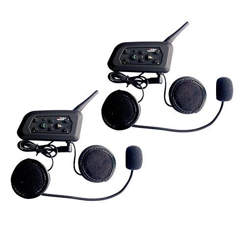 QSPORTPEAK Vnetphone 2 x V6 Bluetooth Motorrad Intercom Helm Communicator Headset, 1200m Reichweite 6-Fahrer Interphone, Bedienungsanleitung in Deutsch