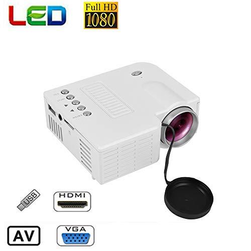 Tosuny Mini Proyector 1080P, Multimedia Vídeo Proyector LCD, 100,000 Horas Proyector de Cine en casa Compatible con HDMI/VGA/AV/USB/SD(Blanco)