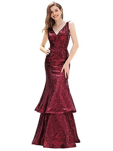 Ever-Pretty Vestiti da Sera Elegante Lungo Sirenetta Paillettes Scollo a V Senza Maniche Donna Borgogna 36