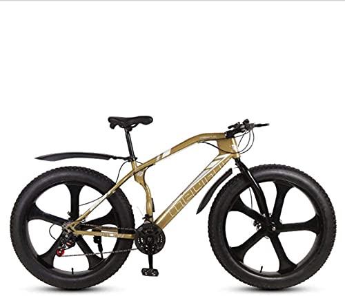 Bicicletas de montaña, 26 pulgadas, freno de disco para bicicleta de playa para nieve, llantas súper anchas 4.0, todo terreno, velocidad variable, bicicleta de montaña, cuadro de aleación de cinco r