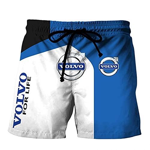 MYJOYSUE Pantalones cortos de algodón de los hombres VOLVO Impreso playa Casual Shorts de secado rápido Stretch Swim Trunks Traje de verano, B, L