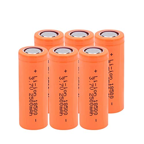 ndegdgswg 3.7V 2500mAh 18500 Lithium Li ion Battery, Long Lasting for Power Bank Backup Power 6pieces
