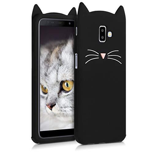 kwmobile Cover Compatibile con Samsung Galaxy J6+ / J6 Plus DUOS - Custodia in Silicone TPU - Copertina Protettiva Back Case Backcover - Gatto Nero/Bianco