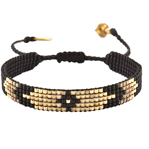 Mishky Peeky Friendship/Cuff Beaded Bracelet with Adjustable Macrame Closure (Black Narrow)