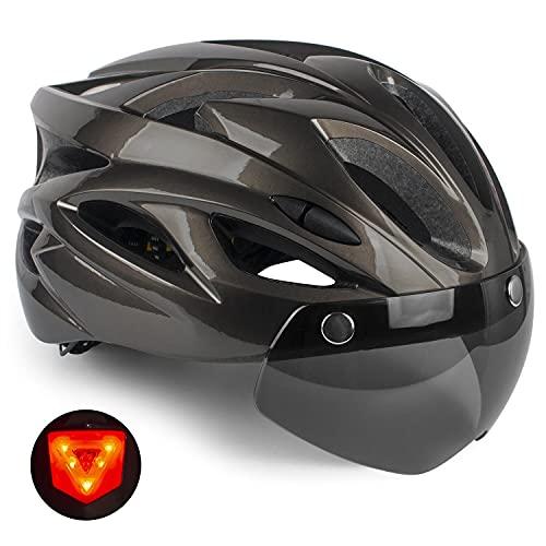 Casco da bici,KINGLEAD casco da bicicletta per adulti certificato CE con casco da strada leggero con luce posteriore di sicurezza a LED e occhiali rimovibili Casco da bici regolabile MTB uomo donna