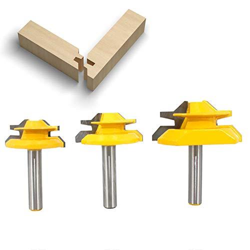 """BIGP 3 Stück 8 mm Schaft 45 Grad Fräser Lock Miter Router Bit, 1-3/8\"""", 1-1/2\"""", 2\"""" Schnittdurchmesser Verleimfräser Gehrung Verleimfräser Oberfräse"""