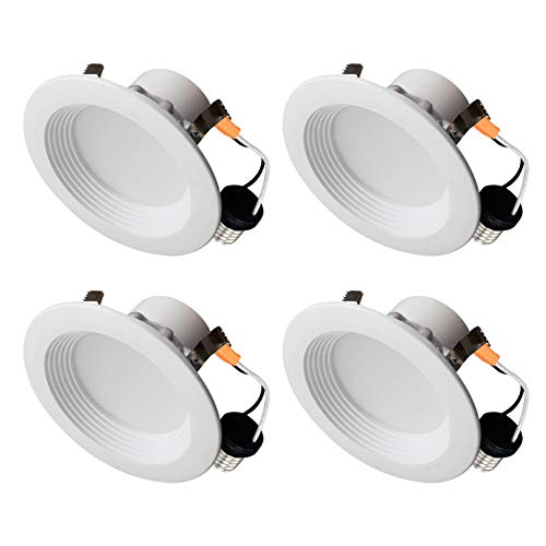 OSTWIN Recessed Lighting, Led 4-inch Can Pot Lights for Ceiling Round Downlight Retrofit Kit Fixture, Baffle Trim, 10.5W (60 Watt), 3000K (Soft White) Dimmable, (4 Pack) UL & Energy Star Listed