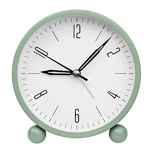 ZOJI Wecker Ohne Ticking,Einfach zu Bedienende Nachttischuhr Alarm Clock Braun Analog Wecker Mit Nachtlichtgrün (Grün)